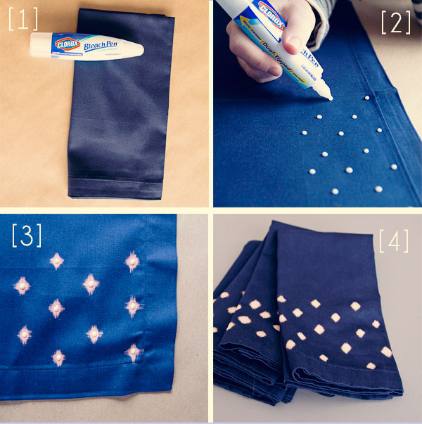 DIY: Bleach pattern napkin how-to